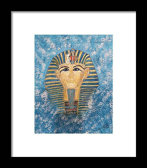 King Tut Framed Print featuring the painting King Tutankhamun Face Mask by Kathy Marrs Chandler