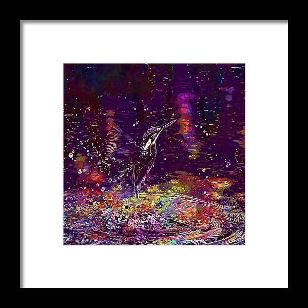 Kingfisher Framed Print featuring the digital art Kingfisher Bird Alcedo Atthis by PixBreak Art