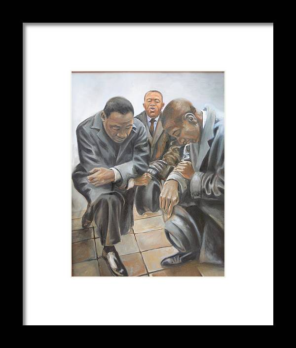 History Framed Print featuring the painting Kings Prayer At Selma by Todd Gates