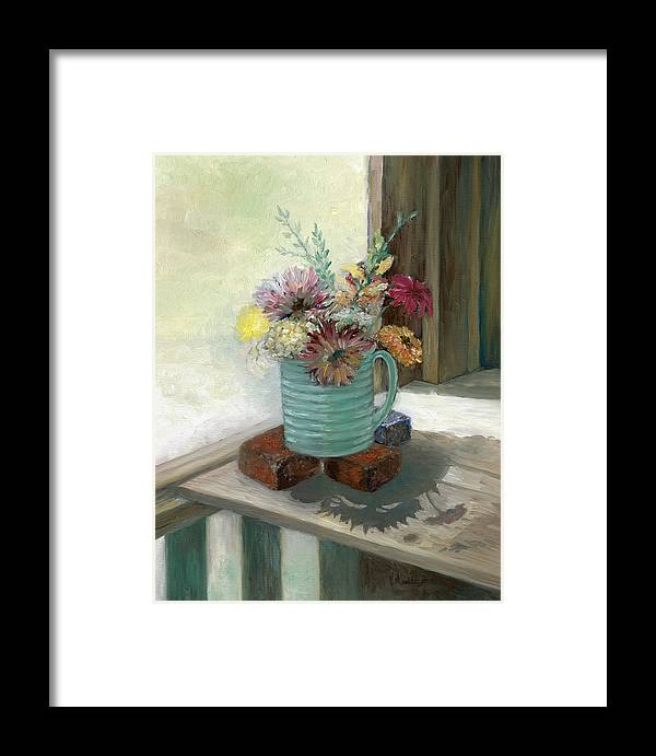 Floral Framed Print featuring the painting Kiowas' Porch by Valerie Meotti
