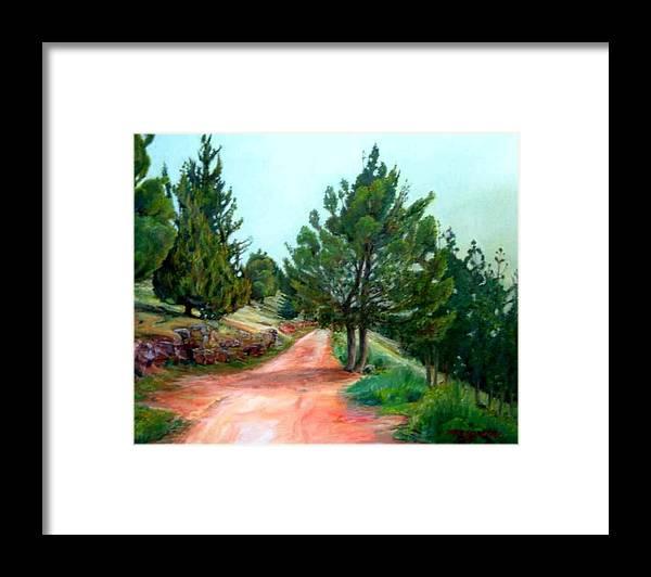 Landscape Art Framed Print featuring the painting Kirjat Smona   1999   by Jonatan Kor