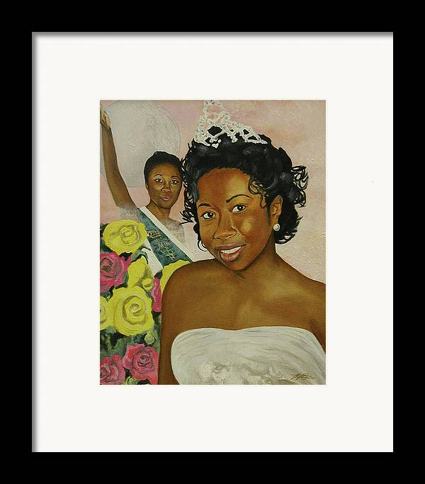 African American Queen Framed Print featuring the painting Kirsten by Angelo Thomas