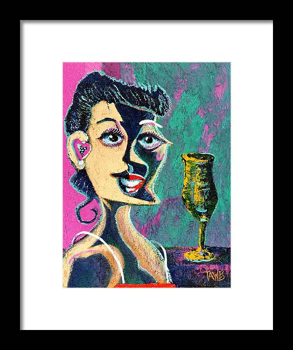 Woman Framed Print featuring the painting Kiss From The Night by Dennis Tawes