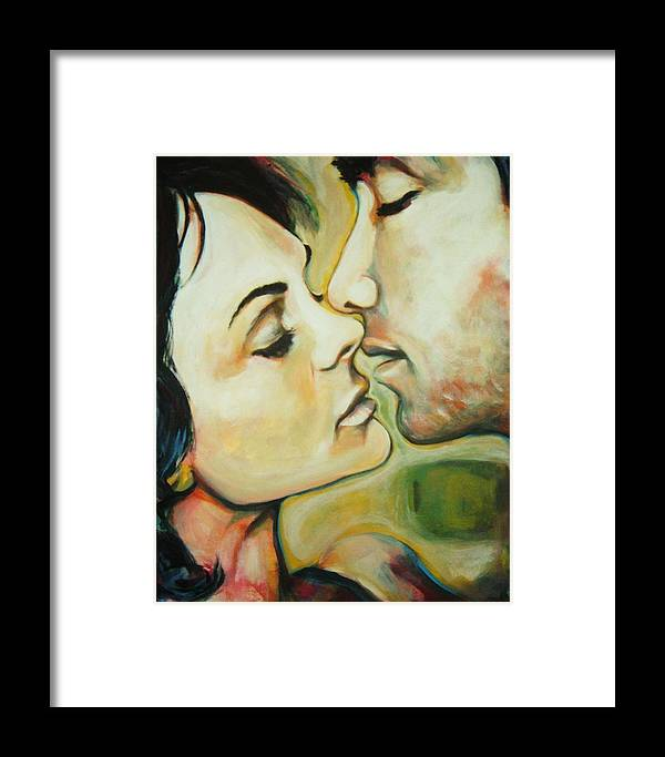 Kissing Couple Framed Print featuring the painting Kiss by Gabriel Aceves