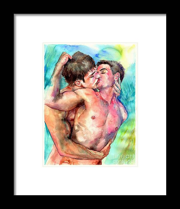Love Framed Print featuring the painting Kiss In The Light by Suzann Sines