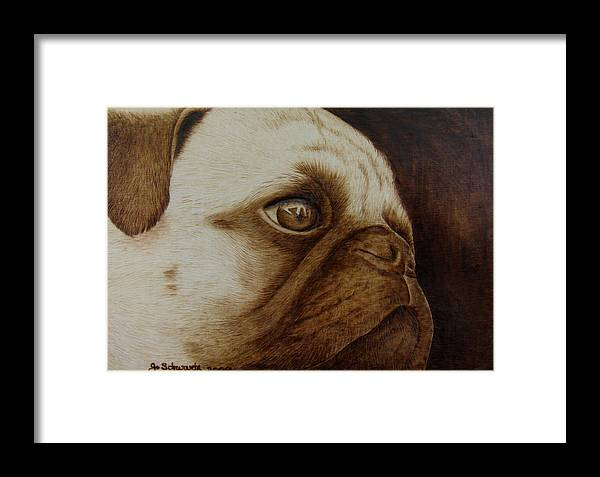 Pyrography; Woodburning; Sepia; Pug; Dog; Puppy; Framed Print featuring the pyrography Kiss Me by Jo Schwartz