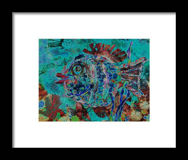 Fish Framed Print featuring the mixed media Kiss Me by Sue Duda