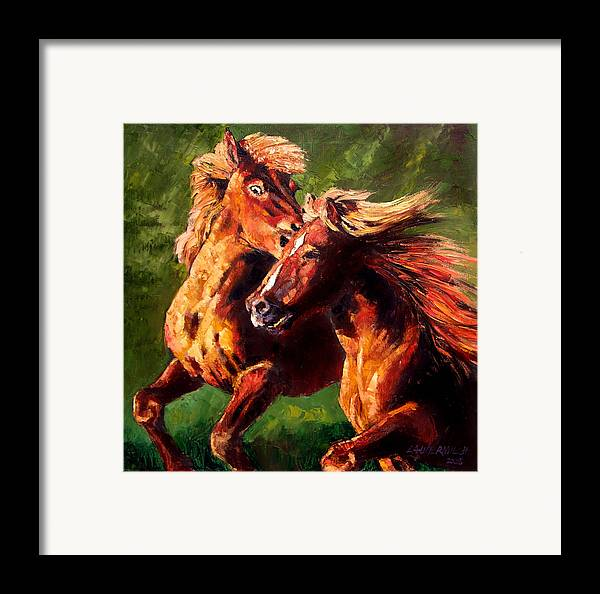 Horses Running Framed Print featuring the painting Kiss On The Run by John Lautermilch