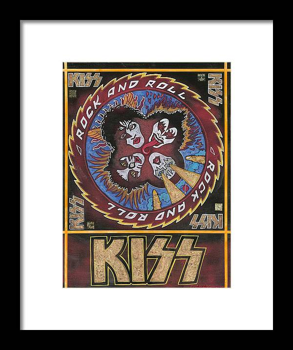 Rock And Roll Framed Print featuring the painting Kiss by Ray Stephenson