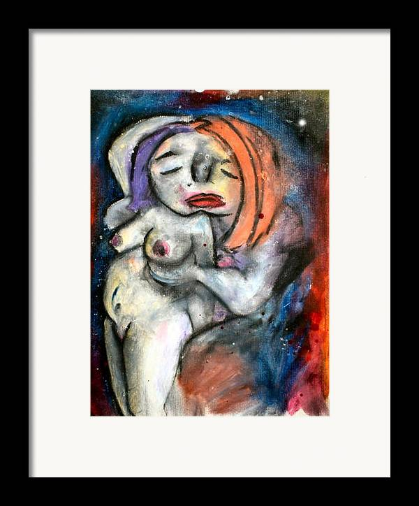 Nudes Framed Print featuring the drawing Kiss by Thomas Valentine