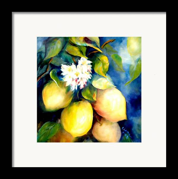 Lemons Framed Print featuring the painting Kissed By The Sun by Elaine Bailey