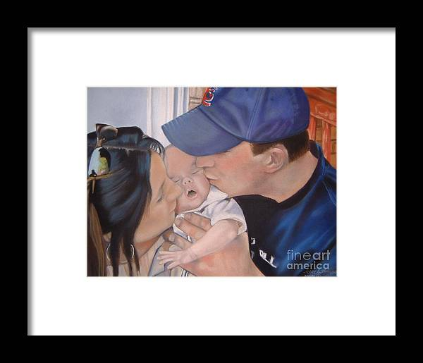 Kiss Framed Print featuring the painting Kisses For Baby by Terri Thompson