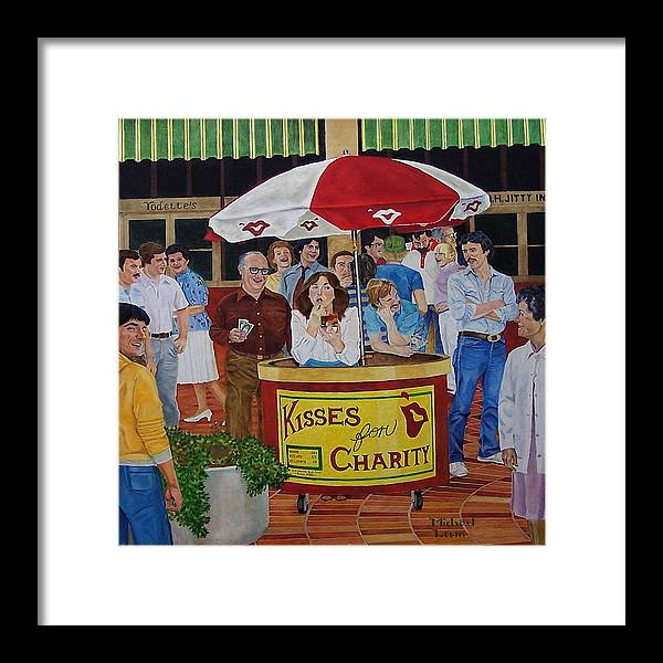 Illustration Framed Print featuring the painting Kisses For Charity by Michael Lewis