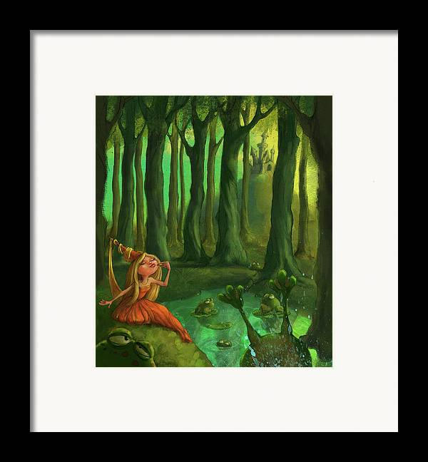 Princess Framed Print featuring the digital art Kissing Frogs by Andy Catling