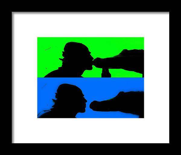 Crocodile Framed Print featuring the photograph Kissing The Croc by Funkpix Photo Hunter