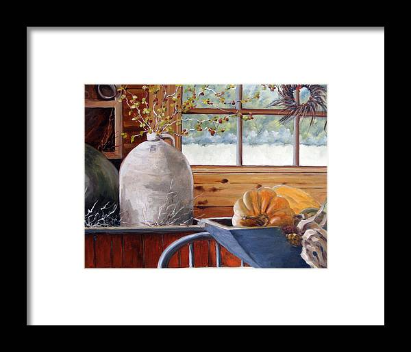 Kitchen Framed Print featuring the painting Kitchen Scene by Richard T Pranke