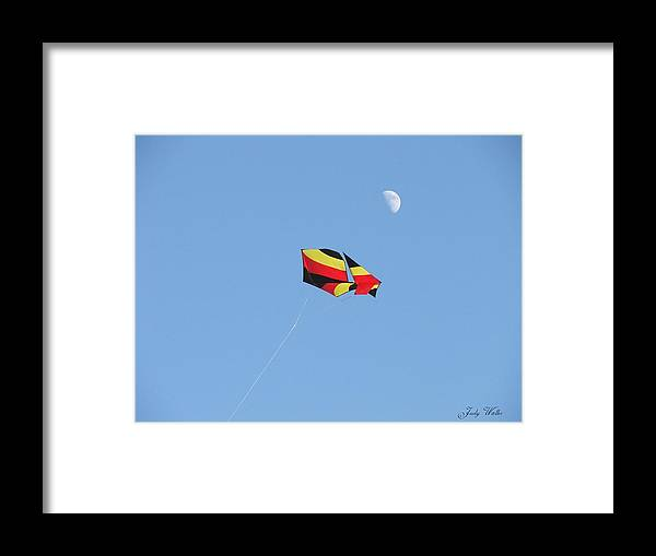 Flying Framed Print featuring the photograph Kite And Moon by Judy Waller