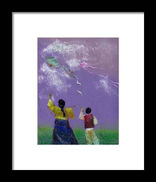 Flying Kite In A Sunny Day-oil Pastel Framed Print featuring the drawing Kite Flying by Mui-Joo Wee