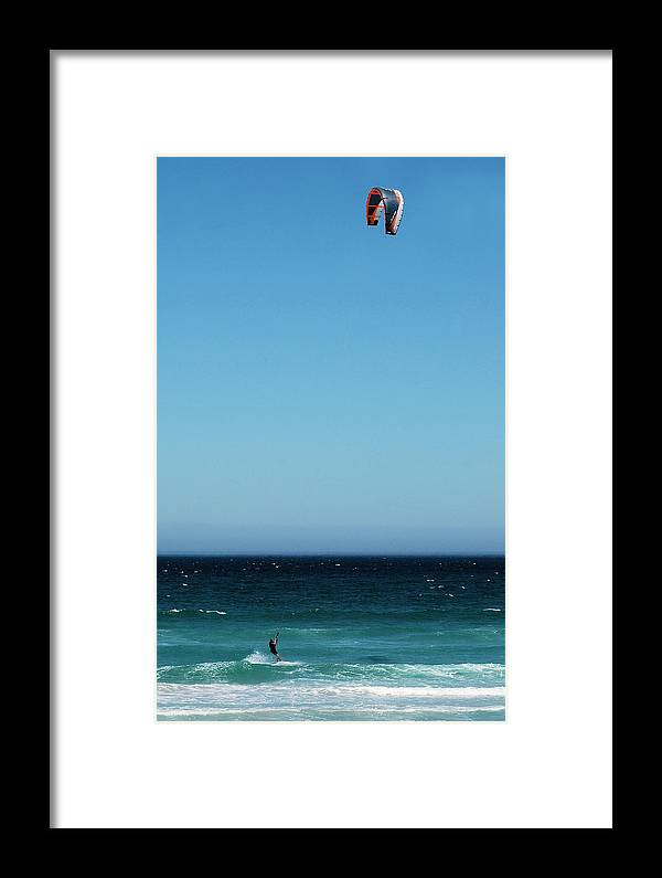 Watersport Sea Activity Wind Framed Print featuring the photograph Kite Surfing by Jon Daly