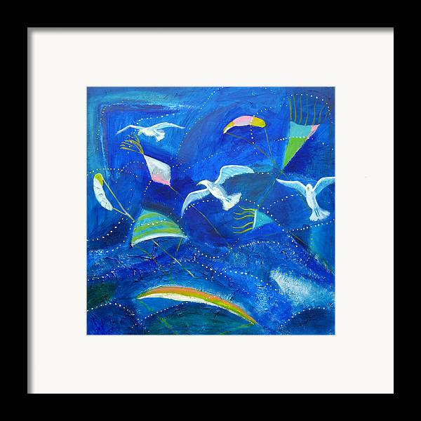 Seagull Framed Print featuring the painting Kites And Seagulls Over Pacific by Aliza Souleyeva-Alexander