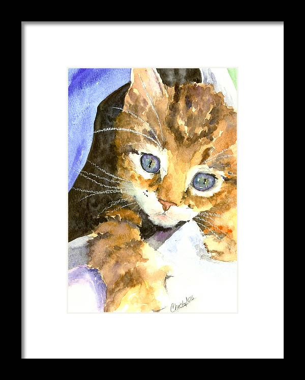 Cat Framed Print featuring the painting Kitten In Blue by Christy Freeman Stark