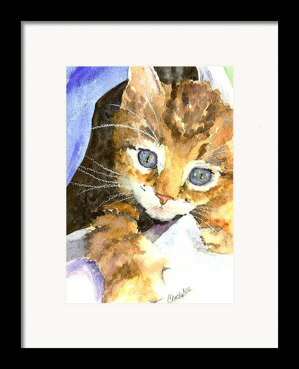 Cat Framed Print featuring the painting Kitten In Blue by Christy Freeman