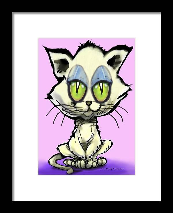 Kitten Framed Print featuring the digital art Kitten by Kevin Middleton