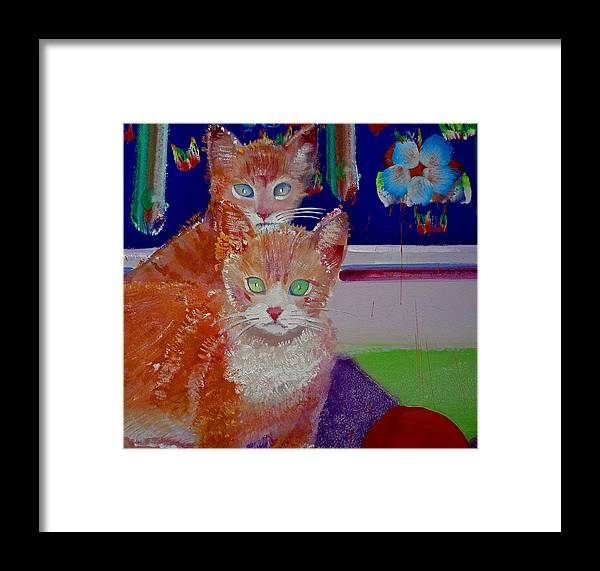 Kittens Framed Print featuring the painting Kittens With Wild Wallpaper by Charles Stuart