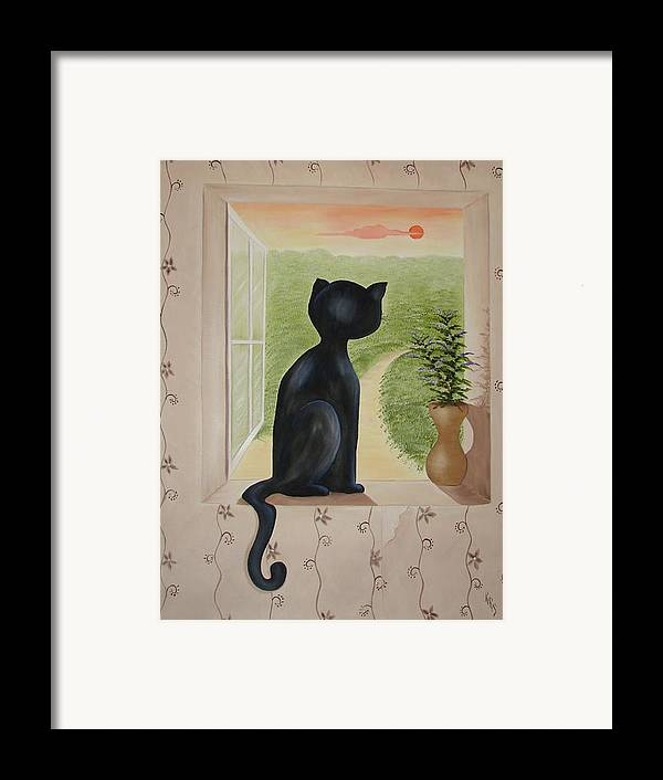 Cat Framed Print featuring the painting Kitty In The Window by Karen R Scoville