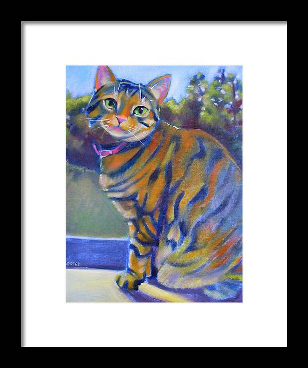 Tabby Cat Framed Print featuring the painting Kitty In The Window by Kaytee Esser