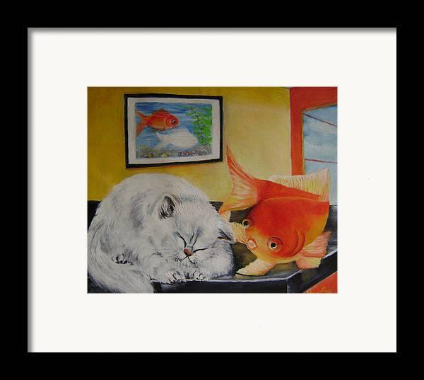 Fantasy Framed Print featuring the painting Kitty's Dream by Lian Zhen