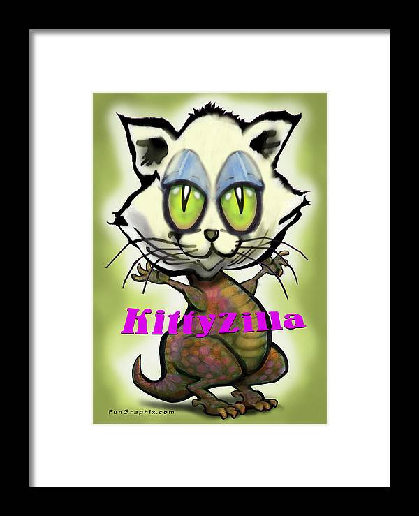 Kittyzilla Framed Print featuring the greeting card Kittyzilla by Kevin Middleton