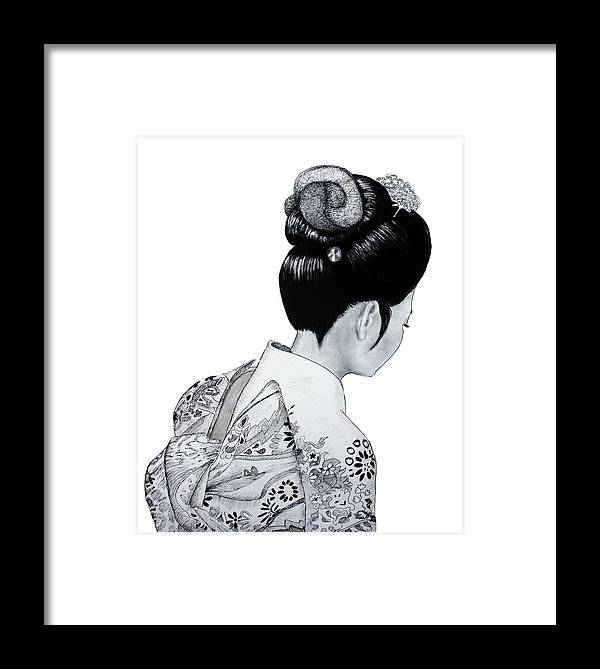 Japanese Framed Print featuring the drawing Kiyo by Lorraine Foster