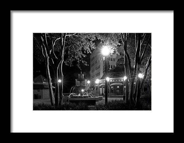 Black And White Photography Framed Print featuring the photograph Kleman Plaza At Night by Wayne Denmark