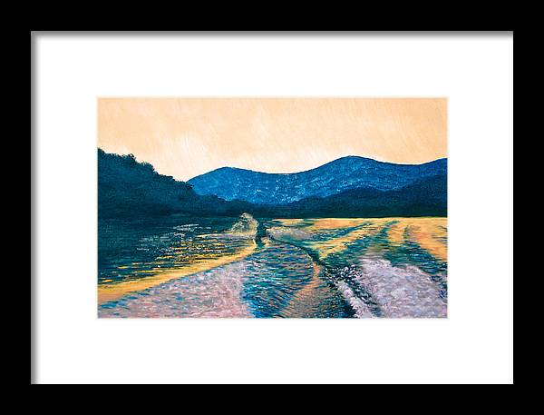 Knee Boarding Framed Print featuring the painting Knee Boarding by Jesska Hoff