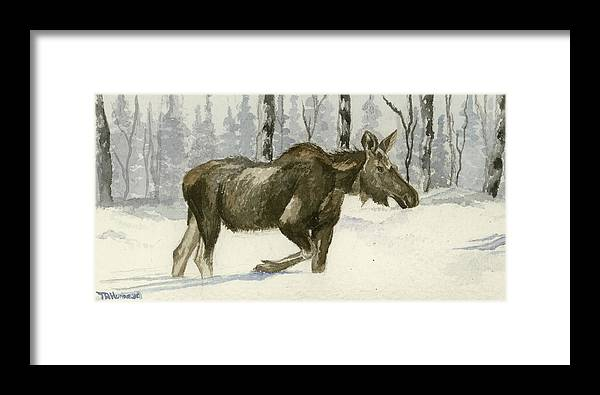 Watercolor Snow Scene Framed Print featuring the painting Knee Deep In Snow by Tracey Hunnewell