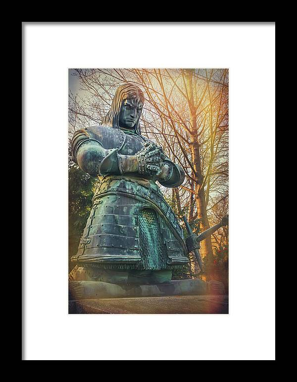 Kneeling Knight Framed Print featuring the photograph Kneeling Knight Zentralfriedhof Vienna Austria by Carol Japp