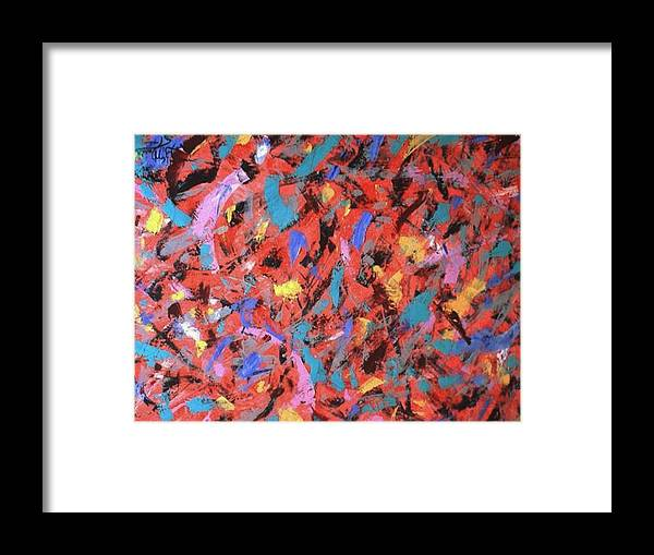 Abstract Framed Print featuring the painting Knife Movements by Guillermo Mason