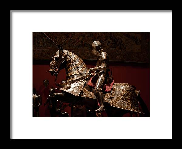 Madrid Framed Print featuring the photograph Knight And Horse In Armor by Lorraine Devon Wilke