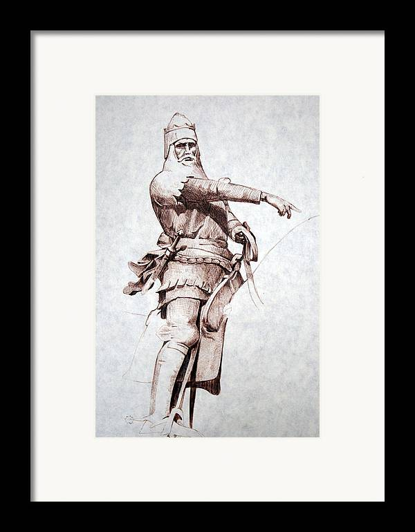 Pen And Ink Framed Print featuring the drawing Knight by Kerry Burch