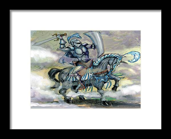 Knight Framed Print featuring the greeting card Knight by Kevin Middleton