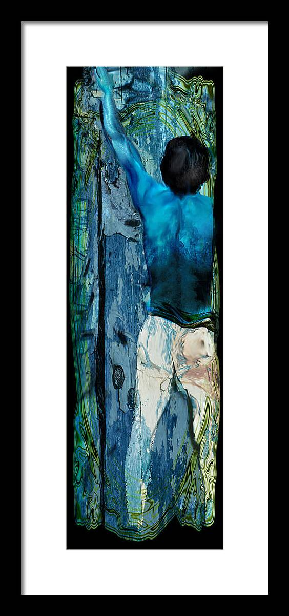 Human Man Person Human Being Figurative Figured Framed Print featuring the painting Knocking On The Heavens Door by Anne Weirich