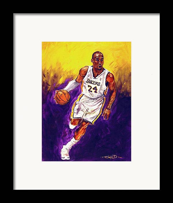 Kobe Bryant Framed Print featuring the painting Kobe by Brian Child