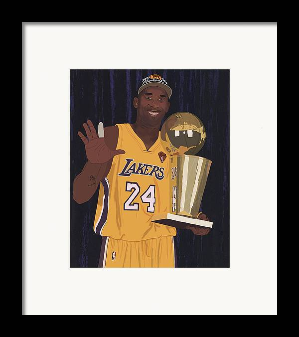 Kobe Bryant Framed Print featuring the digital art Kobe Bryant Five Championships by Tomas Raul Calvo Sanchez