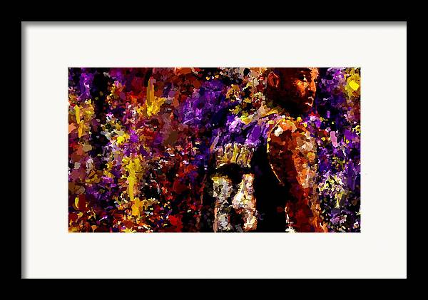 Kobe Bryant Framed Print featuring the painting Kobe Bryant Looking Back Signed Prints Available At Laartwork.com Coupon Code Kodak by Leon Jimenez