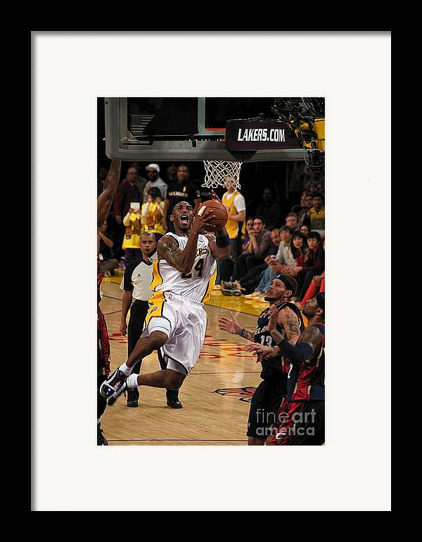 Lakers Framed Print featuring the photograph Kobe by Marc Bittan