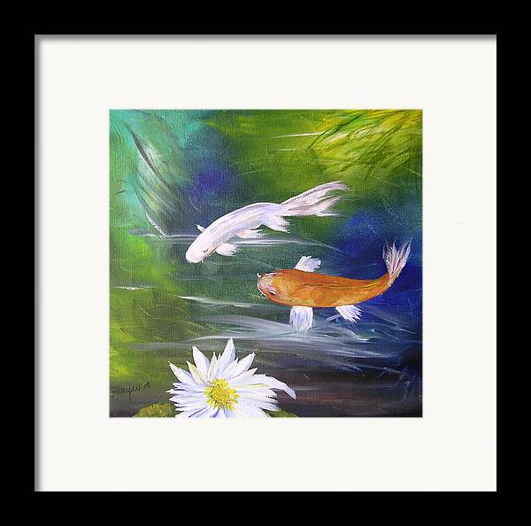 Painting Framed Print featuring the painting Kohaku Koi And Water Lily by Barbara Harper
