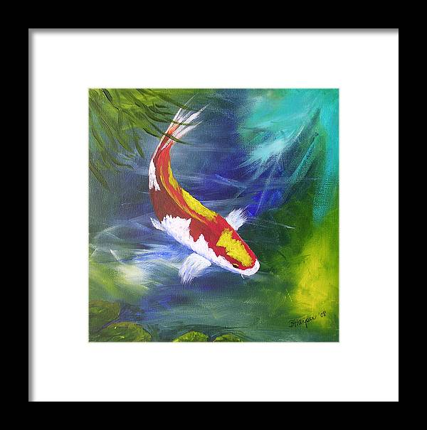 Fish Framed Print featuring the painting Kohaku Koi by Barbara Harper