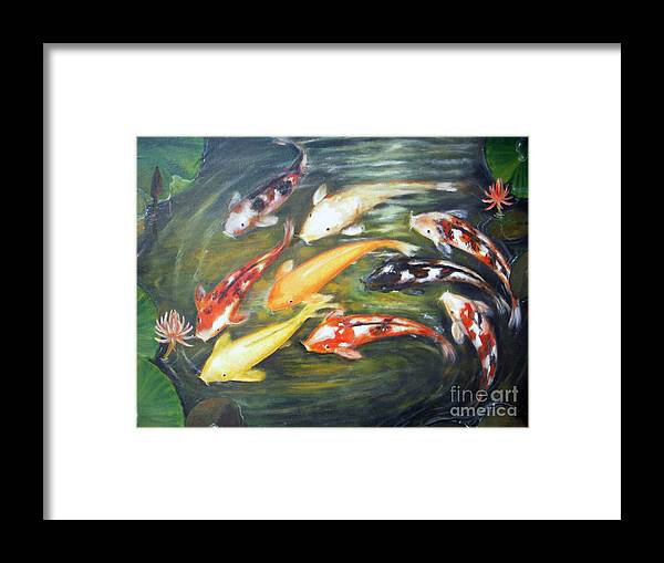 Koi Framed Print featuring the painting Koi 1 by Edy Sutowo