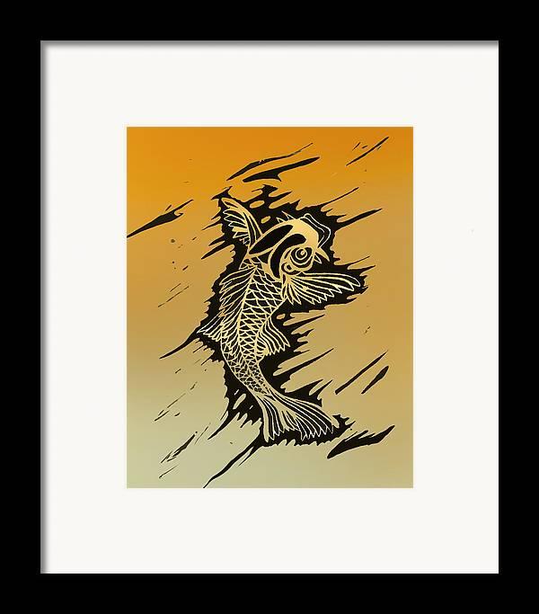 Linoleum Prints Framed Print featuring the painting Koi 2 by Jeff DOttavio